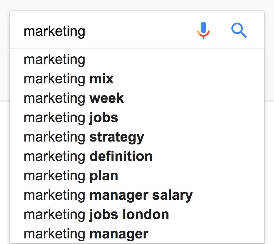 Google suggest örnekleri