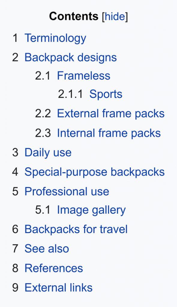 Vikipedi-sırt çantası-içindekiler bölümü