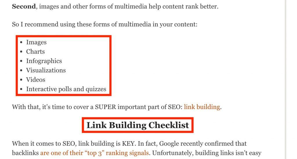 Google SEO ipuçları alt başlık ve listeleme kullanın