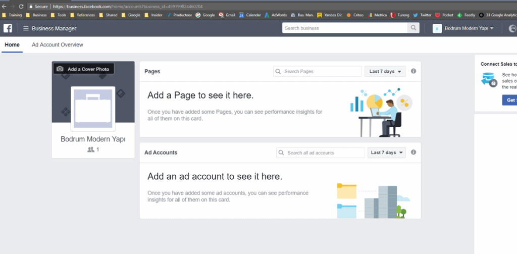 facebook business manager ana ekranı