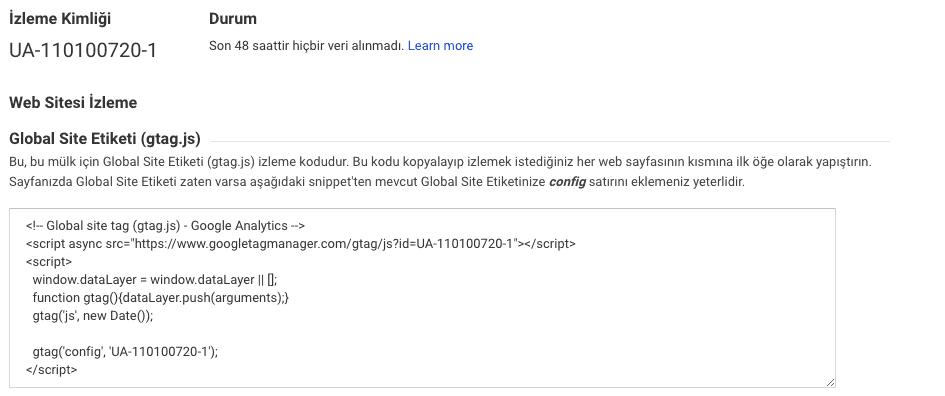 Google Analytics Kodu Ekranı