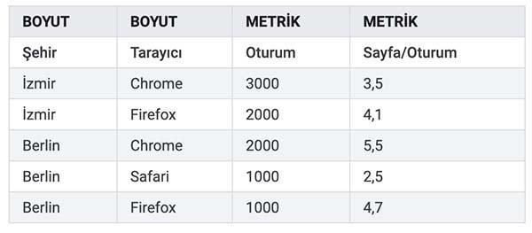 Google Analyticste Boyut ve Metrik