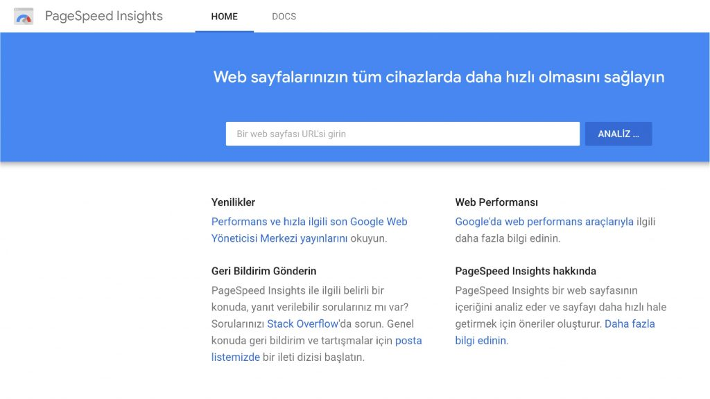 Google Page Speed Insights Site Hızlandırma