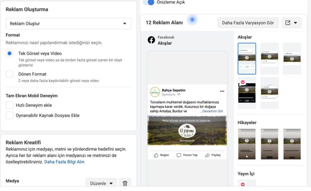 Facebook Reklam Alanlarını Seçin
