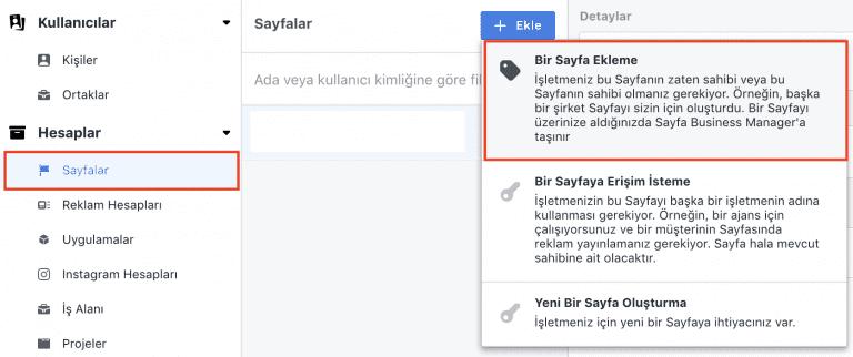 Facebook Business Manager Hesabına Facebook sayfası ekleme